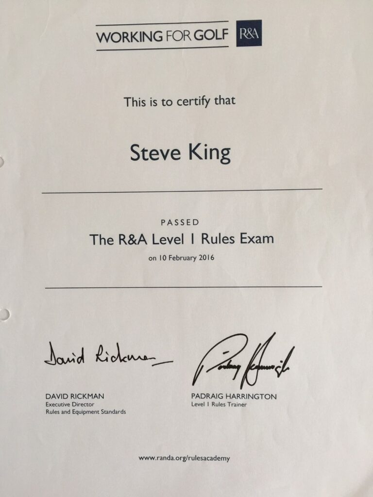 Steve King's Certificate For Passing The R&A Rules Level 1 Exam