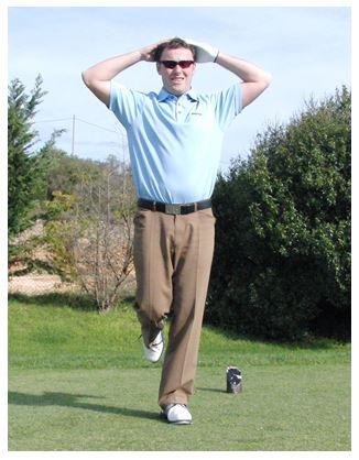 PGA Pro Richard Lawless showing a core strength balance test