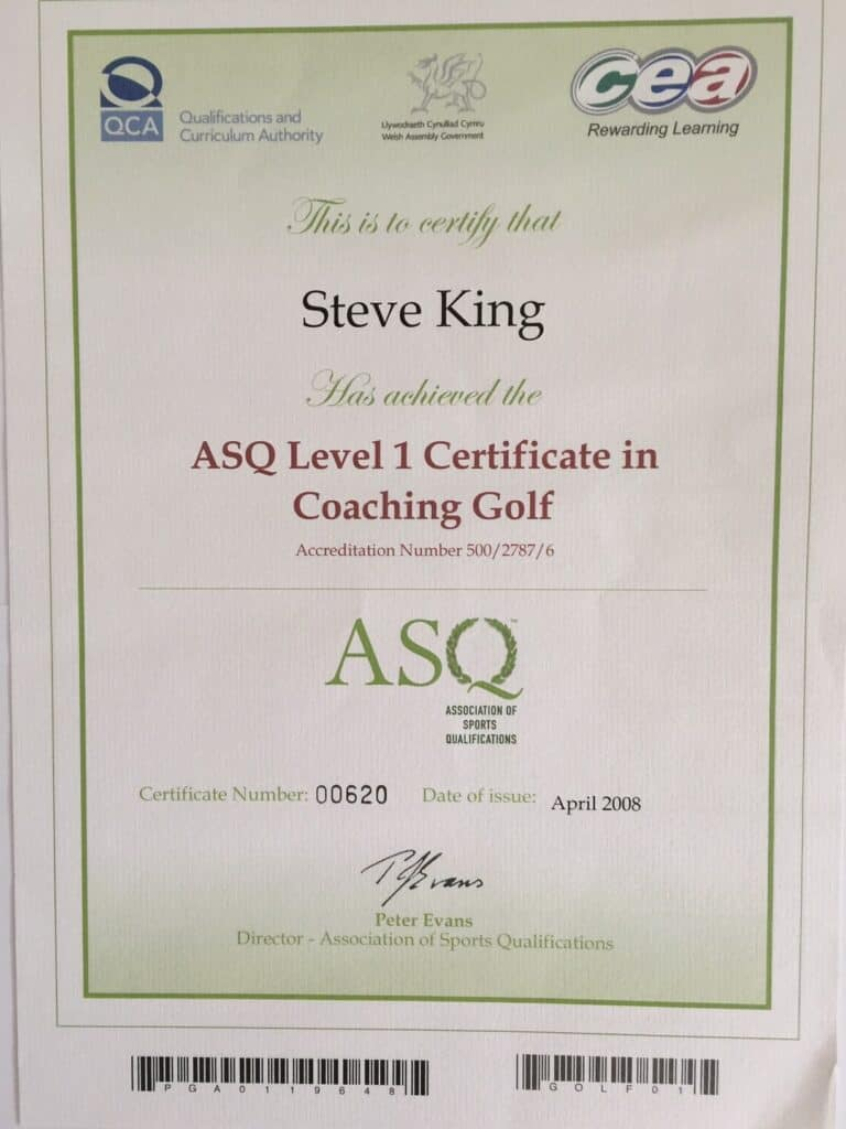 Steve King's Certificate for passing the ASQ Level Coaching in Golf