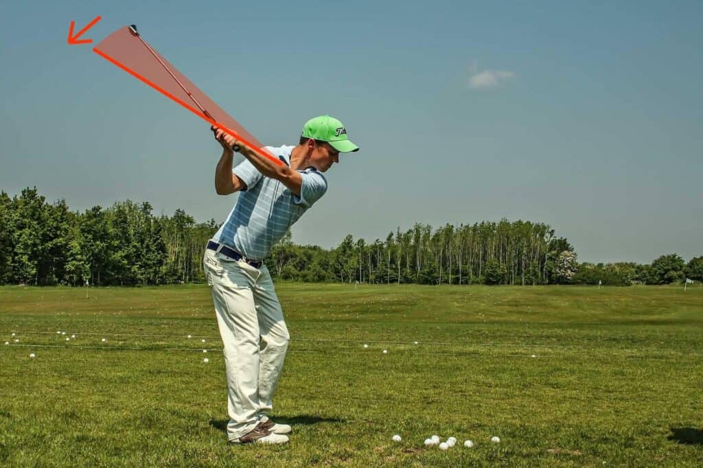 a player with a shallow golf swing