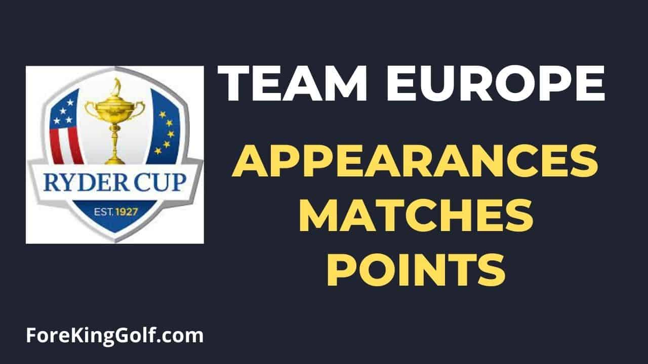 Ryder Cup Europe Appearances, Matches & Points